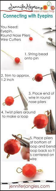 Jewelry Making Basics Connecting with Eyepins - Plus try the Looper tool! #jewelrymaking - Occhielli per le perle