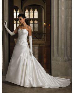 Shopping for Taffeta Sweetheart Column Pleats Embroidery Chapel Train Wedding Dress in Our Wedding Dresses Shop
