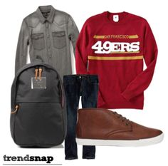 Great look for those cold days at school or on campus!  NFL team crewneck from Forever 21 Men, Abercrombie shirt, Herschel backpack and Hollister jeans!  Perfect for a casual date night or just hanging with friends. Trendsnap.us