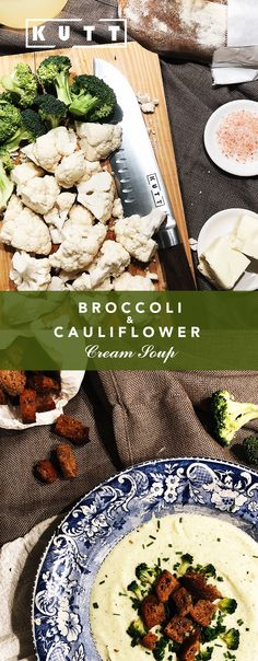 Cauliflower and broccoli cream soup with homemade croutons. Cream Of Broccoli Soup, Broccoli Cauliflower, Cream Soup, Homemade Croutons, Cantaloupe, Deserts, Healthy Recipes, Fruit, Dinner