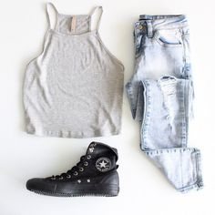tank top nyct clothing cami camisole converse ootd outfit summer ootd ootd top destroyed skinny jeans