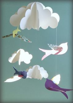Bird Mobile Baby Mobile Birds and Cloud Mobile от goshandgolly 3d Mobile, Paper Mobile, Hanging Mobile, Cloud Mobile, Mobile Baby, Baby Dekor, Diy And Crafts, Crafts For Kids, Beautiful Birds