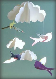 Pájaro móvil bebé móvil aves y nubes móviles móvil por goshandgolly