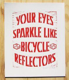 Linogravure vélo amour imprimer rouge par BoardingAllRows sur Etsy