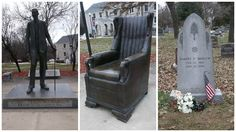 Robert Wadlow statue (dedicated in 1985), Replica Chair, and Grave site