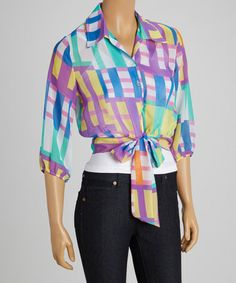 Loving this Purple & Green Abstract Tie Button-Up Top on #zulily! #zulilyfinds