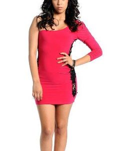 (CLICK IMAGE TWICE FOR DETAILS AND PRICING) Lace Insert One Shoulder Cocktail Dress Fuchsia. This head turning dress looks amazing with statement earrings, a compact clutch, and open toe heels.. See More Party Dress at http://www.ourgreatshop.com/Party-Dress-C79.aspx