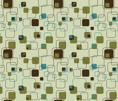 Mid-Century Modern - Retro Squares (Teal) fabric by studiofibonacci on Spoonflower - custom fabric