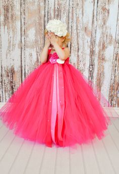 Flower Girl Tutu Dress in Raspberry with by TheLittlePeaBoutique, $131.00 Perfect for a girls' Birthday party!