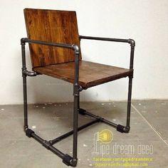 Industrial chair --- designed & created by PIPE DREAM DECO Thailand. รับทำเฟอร์นิเจอร์และโคมไฟที่ทำจากท่อเหล็ก/ทองเหลือง/ทองแดง…