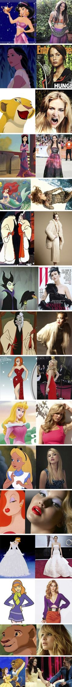 Jennifer Lawrence (the Hunger Games - Katniss Everdeen) and Disney princesses/cartoon characters
