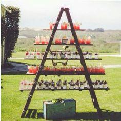 Vintage ladder used to display drinks!