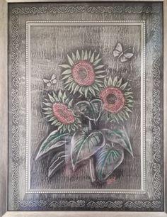 Embossed Pewter Sunflowers