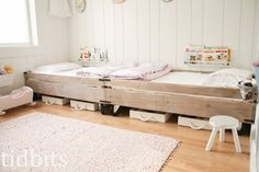 Love the custom beds tidbits: Little Girl Shared Bedroom - Small Space Makeover