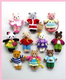 Knitting Patterns for 10 Busy Little Bears - Instructions for all the Busy Littl. Knitting Patterns for 10 Busy Little Bears - Instructions for all the Busy Little Bears - 10 small teddy bears With diff. Teddy Bear Knitting Pattern, Knitted Doll Patterns, Animal Knitting Patterns, Knitted Teddy Bear, Crochet Bear, Knitted Dolls, Knitting Toys, Knitting Ideas, Crochet Toys