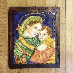 Deruta Madonna and Child Italian Ceramic Painting on Wood Back - Italian handmade, hand painted ceramics from the Italian Pottery Outlet in Santa Barbara, CA.