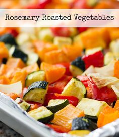 Roasted Butternut Squash with zucchini and red peppers is an easy, nutritious side dish made all in one pan. Line the pan with foil for even less clean up!
