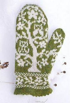 Ravelry: Owls In a Tree Mittens pattern by Fact Woman from Mod Knits.