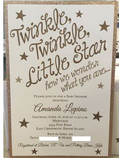 Twinkle, Twinkle, Little Star how we wonder what you are.... Invitations by Crosstown Press, Cranston, RI