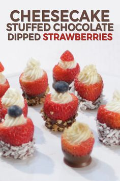 This cheesecake stuffed chocolate dipped strawberries recipe is so easy to make and tastes amazing. Let's make those classic chocolate covered strawberries a bit more creative and elegant. All you need are simple ingredients like, strawberries, chocolate, Bite Size Desserts, Easy Desserts, Dessert Recipes, Valentine Desserts, Mini Desserts, Snack Recipes, Strawberry Dip, Strawberry Recipes, Strawberry Shortcake