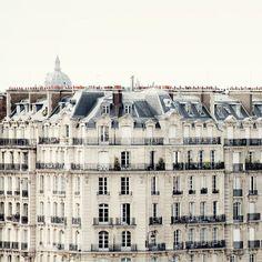 Paris photograph - Bonjour Paris - Parisian rooftops and windows - Fine art travel photography 8x8 $30