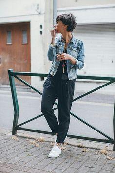 navy joggers jean jacket