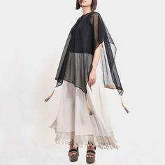 Black Cotton Mesh Kaftan