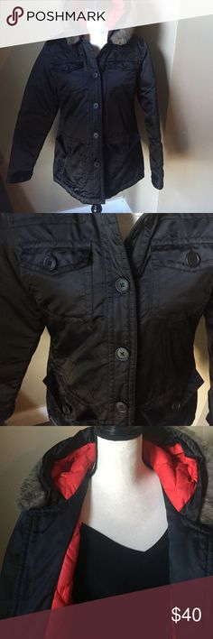 """Gap Down jacket Gap Winter coat Black with orange lining removable faux fur on hood. Hood not removable measures 27"""" from shoulder to hem 4 front pockets has extra buttons poly nylon combo 75%down... This jacket lays flat not puffy very good condition GAP Jackets & Coats Puffers"""