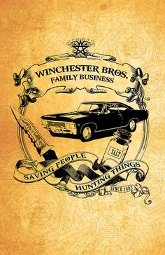 Supernatural Winchester Print  - 11 x 17 Glossy Cardstock Poster - Saving People, Hunting Things; The Family Business