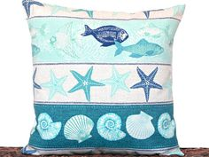 Outdoor Seashells Pillow Cover Cushion Starfish Fish Coastal