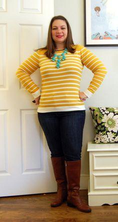 Banana Republic Sweater, Ebay necklace, Bandolino Boots, AE Skinnies