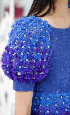 Chanel Spring 2015 Haute Couture | Purely Inspiration (the solid blue bodice and sleeve cuff are layers of sequins forming what looks like fabric...all done by hand)