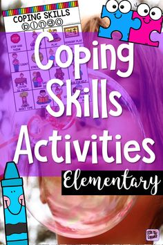 coping skills bingo, puzzles, posters, charts, and coloring sheets for elementary school counselors Elementary School Counselor, School Counseling, Elementary Schools, Teaching Social Skills, Social Emotional Learning, Apple Unit, Core Curriculum, Counseling Activities, Guidance Lessons
