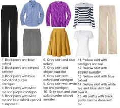Sample capsule wardrobe for a woman who works in an office setting. Career wear on a budget for a business casual office, tips and shopping advice.