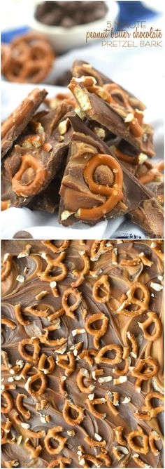 Minute Peanut Butter Chocolate Pretzel Bark is about as quick as it gets and SO delicious!Five Minute Peanut Butter Chocolate Pretzel Bark is about as quick as it gets and SO delicious! Candy Recipes, Sweet Recipes, Dessert Recipes, Peanut Butter Recipes, Chocolate Peanut Butter, Chocolate Bark, Peanut Butter Pretzel, Baking Chocolate, Pretzel Bark