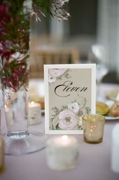 Pretty floral painted table numbers