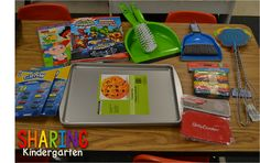 Sharing Kindergarten: Dollar store ideas to improve your classroom (Like the idea of using real dishes & such from the Dollar Tree for the pretend play area. Preschool Kindergarten, Toddler Preschool, Preschool Crafts, Classroom Design, Future Classroom, Classroom Ideas, Classroom Supplies, Fun Learning, Preschool Activities