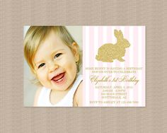 Gold Bunny Rabbit Birthday Party Invitation | Pink White Stripes | Gold Glitter Rabbit | Easter Birthday Party Invitation | Printable