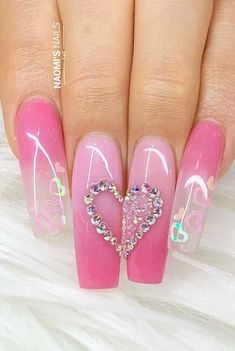 Best Valentine's Nail Art Designs for 2020 – 9 – Hair and Beauty eye makeup Idea… Valentine's Day Nail Designs, Cute Acrylic Nail Designs, Valentine Nail Art, Nails For Valentines Day, Valentine Gifts, Saint Valentine, Nagellack Design, Glamour Nails, Pink Acrylic Nails