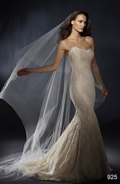 Bridal Gowns: Marisa Mermaid Wedding Dress with Sweetheart Neckline and No Waist/Princess Seams Waistline