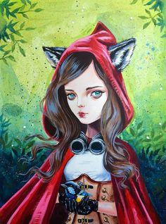 What Big Eyes I Have Meet Little Red, with my personal twist to the story. Print from one of my original paintings. Limited edition of 80