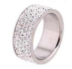 Five Row Crystal Rhinestone Fashion Ring