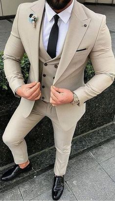 Mens Style Discover Red Slim Fit Suits mens Wedding Suits With Pants Business 2 Pieces Best Suits For Men, Cool Suits, Formal Suits For Men, Beige Wedding, Wedding Men, Wedding Tuxedos, Wedding Suits For Groom, Indian Wedding Suits Men, Indian Men Fashion