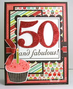 Cute design for 50th birthday card. Use elegant edges and one with numbers...SE