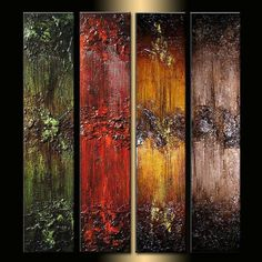 Original Textured Abstract painting Contemporary Multipanel Fine Art by Henry Parsinia Large 36x32x1.58