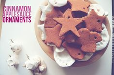 Delightful smelling Cinnamon Applesauce Ornaments (only TWO ingredients!)  fun for the kids and perfect for the tree!  @ A Nest for All Seasons with Amy Renea