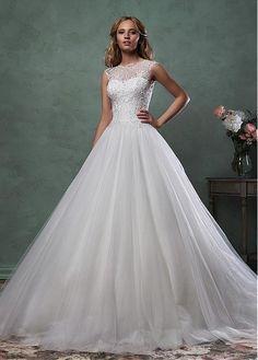 Romantic Tulle High Collar Neckline Natural Waist  Wedding Dress With Beaded…