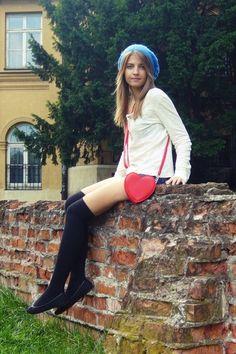 White Sweater + Cutoffs + Black Over the Knee Socks + Black Flats + Crossbody Bag Beautiful Clothes, Beautiful Outfits, Knee High Stockings, Cutoffs, Knee Socks, White Sweaters, Black Flats, Thigh Highs, Thighs