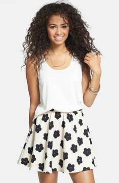 $22, Lush Print Crepe Skater Skirt Black Cream Large. Sold by Nordstrom. Click for more info: https://lookastic.com/women/shop_items/121149/redirect