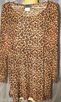 SLINKY BRAND Size Large Taupe black camel animal print 3/4 sleeve tunic shirt